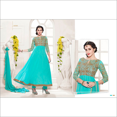HEAVY FLOOR LENGTH SKY BLUE ANARKALI SUIT