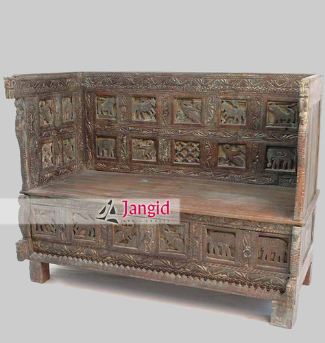 Indian Carved Antique Remade Living Room Sofa