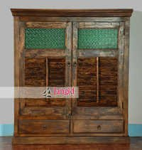 Antique Shutter Door Indian Armoire