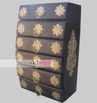 Indian Brass Fitted Chest of Drawer