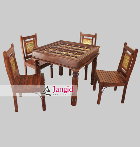 Solid Wooden Brass Fitted Dining Set India