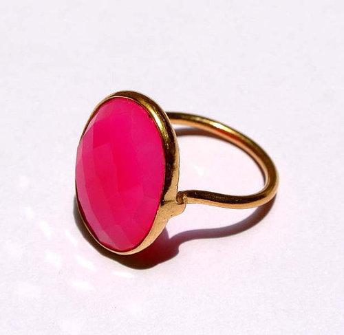 Fuchsia Chalcedony Gemstone Ring