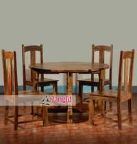 Wooden Folding Round Dining Table Set India