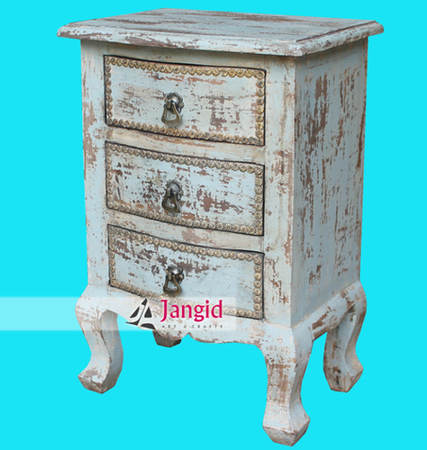 Indian Distressed Wooden Bedside Cabinet