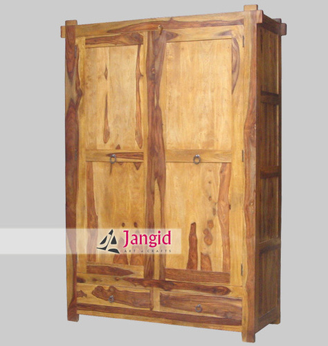 Sheesham Wooden Indian Hotel Room Folding Wardrobe