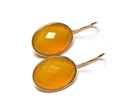 Yellow Chalcedony Gemstone Earring