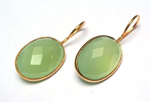 Sea Green Chalcedony Gemstone Earring