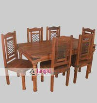 Indian Wooden Iron Grill Fitted Dining Table Set