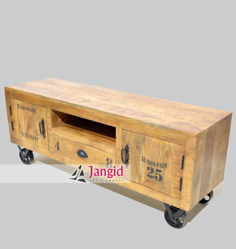 Industrial Rough Mango Wood TV Cabinet With Wheel