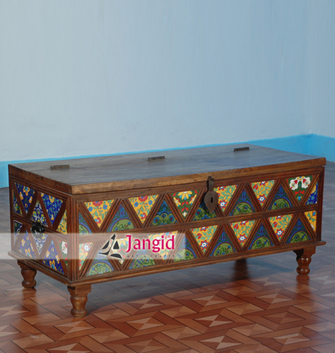 Wooden Colourful Tile Fitted Storage Box