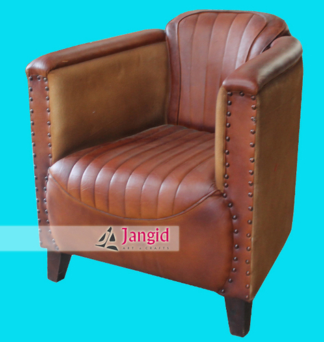 Indian Leather and Canvas Single Seater Sofa