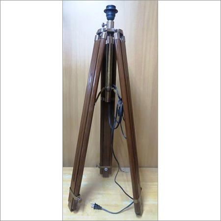 Big Wooden Brass Tripod Lamp