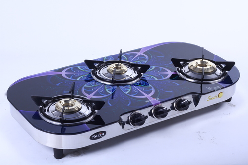 Three Burner Printed Glass Gas Stove