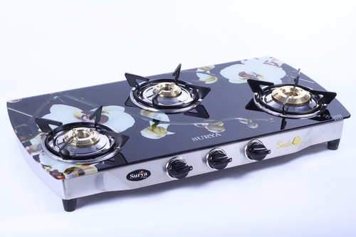 Three Burner Glass Gas Stove