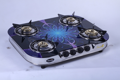 Four Burner Printed Glass Gas Stove