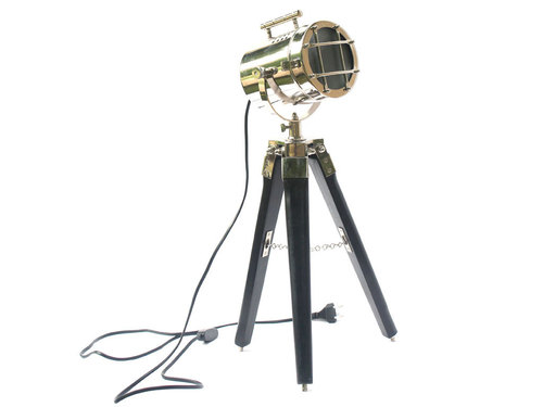 Nautical Little Searchlight Desk Lamp Marine Spotlight Black Tripod