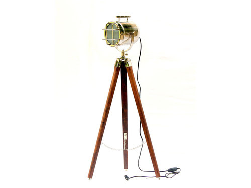 Vintage Nautical Floor Lamp Brown Tripod Chrome Finish