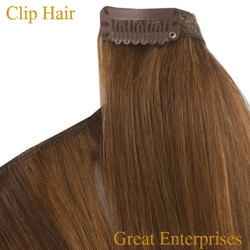 Brown clip hair extensions