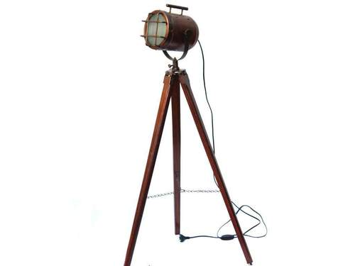 Antique Copper Floor Lamp Marine Searchlight Wooden Tripod
