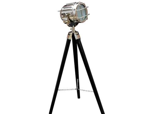 Vintage Chrome Finish Floor Lamp Searchlight Black Tripod