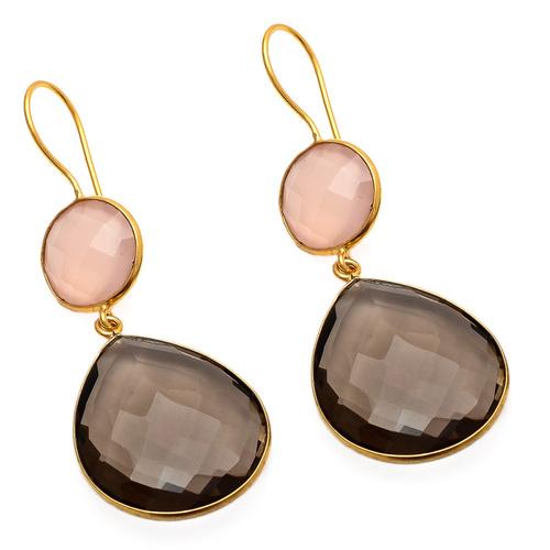 Smoky Topaz & Pink Chalcedony Gemstone Earring