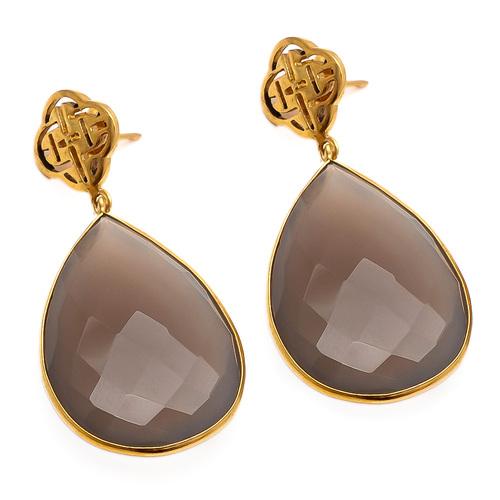 Gray Chalcedony Gemstone Earring