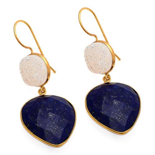 Lapis Lazuli & White Druzy Gemstone Earring