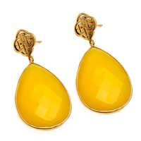Yellow Chalcedony Gemstone Earring