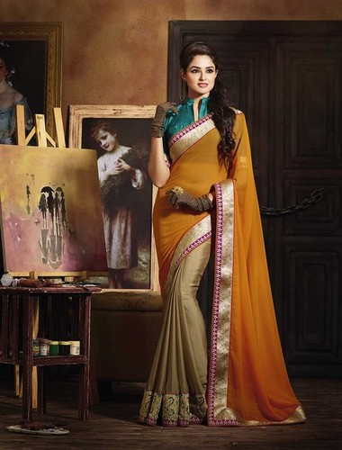 NEW BROWN AND ORANGE DESIGNER SAREE