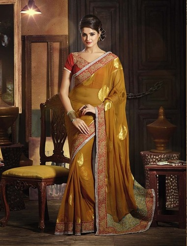 ATTRACTIVE BROWN SHADED DESIGNER SAREE
