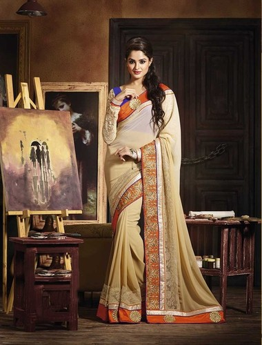 DIFFERENT LOOK CREAM SHADED DESIGNER SAREE