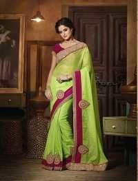 GREEN AND PINK DESIGNER SAREE