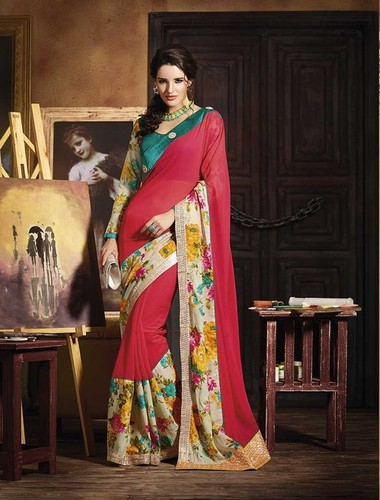 AWESOM LOOKING MULTI COLOUR DESIGNER SAREE
