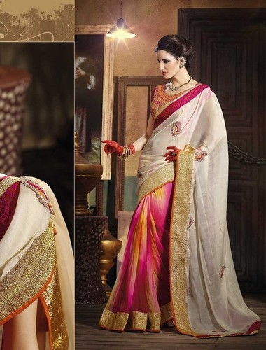 ATTRACTIVE MULTI SHADED DESIGNER SAREE