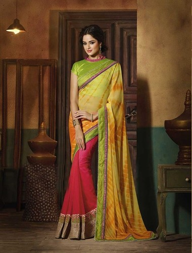 NEW  PARROT AND PINK DESIGNER SAREE