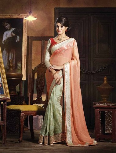 NEW PEACH AND CREAM DESIGNER SAREE