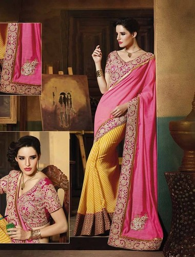 PINK AND YELLOW DESIGNER SAREE