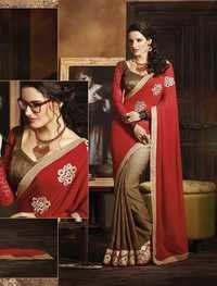 HEAVY RED AND BROWN DESIGNER SAREE