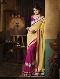 HEAVY BODER YELLOW AND PINK DESIGNER SAREE