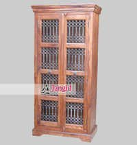 Indian Wooden Iron Grill Fitted Almirah