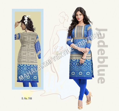 Blue Cotton Kurtis Materials