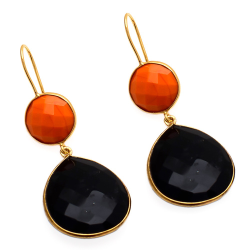 Orange Chalcedony & Black onyx Gemstone Earring