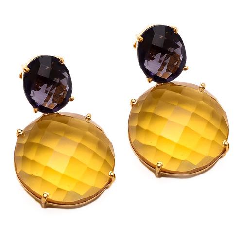 Citrine & Amethyst Gemstone Earring