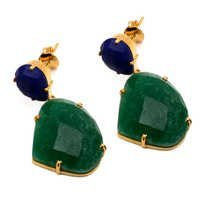 Dyed Emerald & Lapis Lazuli Gemstone Earring