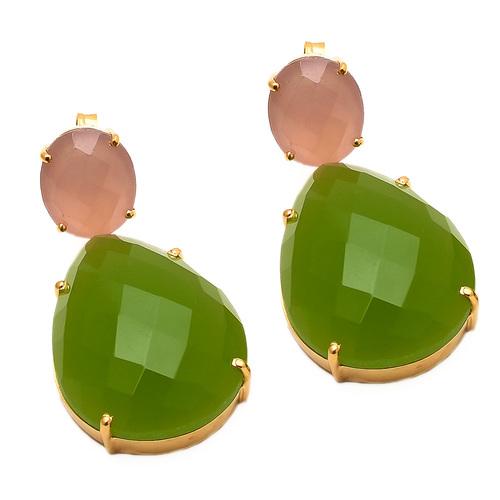 Sea Green & Pink Chalcedony Gemstone Earring