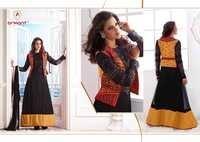 Designer Silk Net Embroidered Suit With Resham Work Jacket