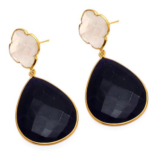 Dyed Sapphire & Rainbow Moonstone Gemstone Earring