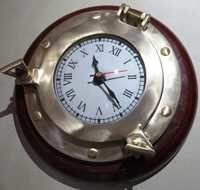 Porthole Clocks With Wooden Base