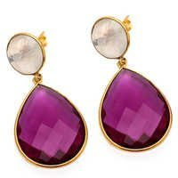 Pink Tourmaline & Rainbow Moonstone Gemstone Earring