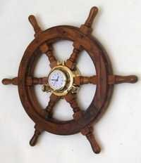 Wooden Ship Wheel With Center Clock